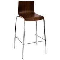 BFM Seating JA601BS-WL Rita Chrome Metal Bar Height Chair with Walnut II Laminate Back and Seat