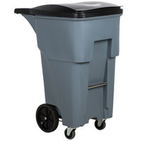 Rubbermaid 1971971 Brute 65 Gallon Gray Standard Rollout Container with Lid and Casters