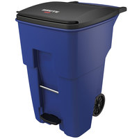 Rubbermaid 1971993 Brute 95 Gallon Blue Step-On Rollout Container with Lid