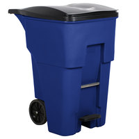 Rubbermaid 1971993 Brute 380 Qt. / 95 Gallon Blue Step-On Rollout Trash Container with Lid