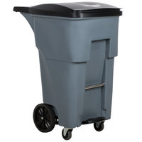 Rubbermaid 1971974 Brute 65 Gallon Gray Step-On Rollout Container with Lid and Casters