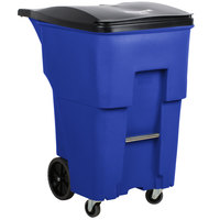 Rubbermaid 1971996 Brute 95 Gallon Blue Rollout Trash Container with Lid and Casters