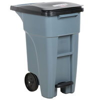 Rubbermaid 1971944 Brute 128 Qt. / 32 Gallon Gray Step-On Rollout Trash Container with Lid