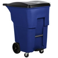 Rubbermaid 1971999 Brute 95 Gallon Blue Step-On Rollout Container with Lid and Casters