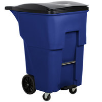 Rubbermaid 1971999 Brute 95 Gallon Blue Step-On Rollout Trash Container with Lid and Casters