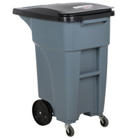 Rubbermaid 1971947 Brute 32 Gallon Gray Rollout Trash Container with Lid and Casters