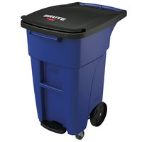 Rubbermaid 1971952 Brute 32 Gallon Blue Step-On Rollout Trash Container with Lid and Casters