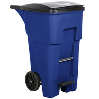 Rubbermaid 1971970 Brute 65 Gallon Blue Step-On Rollout Container with Lid