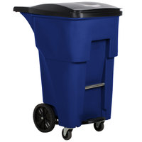 Rubbermaid 1971976 Brute 65 Gallon Blue Step-On Rollout Trash Container with Lid and Casters