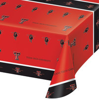 Creative Converting 724891 54 inch x 108 inch Texas Tech University Plastic Table Cover - 12/Case