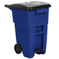 Rubbermaid 1971958 Brute 50 Gallon Blue Standard Step-On Rollout Container with Lid