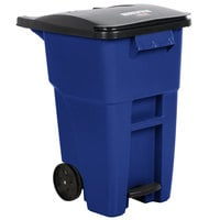 Rubbermaid 1971958 Brute 200 Qt. / 50 Gallon Blue Standard Step-On Rollout Trash Container with Lid