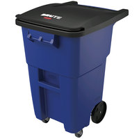 Rubbermaid 1971961 Brute 50 Gallon Blue Standard Rollout Container with Lid and Casters