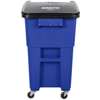 Rubbermaid 1971961 Brute 50 Gallon Blue Rollout Trash Container with Lid and Casters