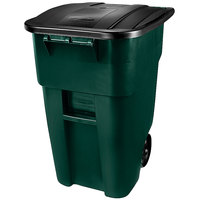 Rubbermaid 1829411 Brute 50 Gallon Green Standard Rollout Container with Lid