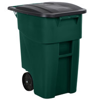 Rubbermaid 1829411 Brute 50 Gallon Green Rollout Trash Container with Lid