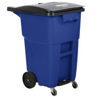 Rubbermaid 1971964 Brute 50 Gallon Blue Step-On Rollout Container with Lid and Casters