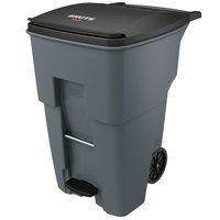 Rubbermaid 1971991 Brute 95 Gallon Gray Step-On Rollout Container with Lid