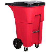Rubbermaid 1971977 Brute 65 Gallon Red Rollout Container with Locking Lid and Casters