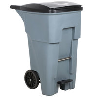 Rubbermaid 1971968 Brute 65 Gallon Gray Step-On Rollout Container with Lid