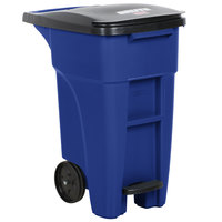 Rubbermaid 1971946 Brute 128 Qt. / 32 Gallon Blue Step-On Rollout Trash Container with Lid