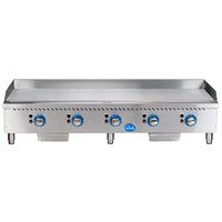 Globe GG60TG 60 inch Heavy-Duty Gas Countertop Griddle with Thermostatic Controls - 150,000 BTU