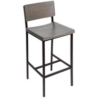 BFM Seating JS33BGRA-SB Memphis Sand Black Steel Bar Height Chair with Gray Ash Wooden Back and Seat