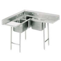 Advance Tabco 94-K5-18D Four Compartment Corner Sink with Two Drainboards - 140 1/2 inch