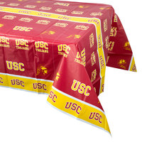 Creative Converting 724857 54 inch x 108 inch University of Southern California Plastic Table Cover - 12/Case