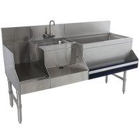Advance Tabco PRU-19-48R Prestige Series Stainless Steel Uni-Serv Speed Bar - 48 inch x 25 inch (Right Side Ice Bin)