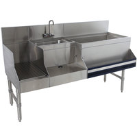 Advance Tabco PRU-19-48R-10 Prestige Series Stainless Steel Uni-Serv Speed Bar with 10-Circuit Cold Plate - 48 inch x 25 inch (Right Side Ice Bin)
