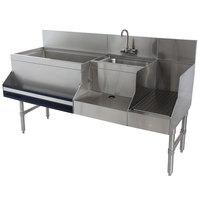 Advance Tabco PRU-19-48L Prestige Series Stainless Steel Uni-Serv Speed Bar - 48 inch x 25 inch (Left Side Ice Bin)