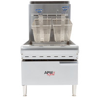 APW Wyott APWF-25C Natural Gas 25 lb. Countertop Fryer - 60,000 BTU