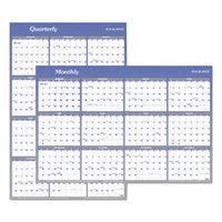 At-A-Glance A1102 24 inch x 36 inch Blue / White Reversible Vertical / Horizontal Erasable January 2019 - December 2019 Wall Planner