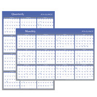At-A-Glance A1102 24 inch x 36 inch Blue / White Reversible Vertical / Horizontal Erasable January 2020 - December 2020 Wall Planner
