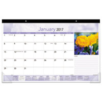 At-A-Glance DMD17632 17 inch x 10 7/8 inch Monthly January 2018 - December 2018 Compact Floral Monthly Desk Pad Calendar