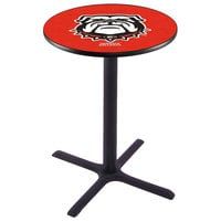 Holland Bar Stool L211B36GA-DOG 28 inch Round University of Georgia Pub Table