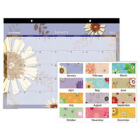 At-A-Glance 5035 22 inch x 17 inch Paper Flowers Monthly January 2019 - December 2019 Desk Pad Calendar