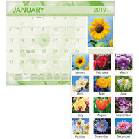 At-A-Glance DMD13532 22 inch x 17 inch Monthly January 2019 - December 2019 Antique Floral Desk Pad Calendar