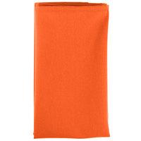18 inch x 18 inch Orange Hemmed Polyspun Cloth Napkin - 12/Pack