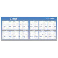 At-A-Glance A177 60 inch x 26 inch Blue / White Reversible Block / Linear Erasable January 2019 - December 2019 Wall Planner