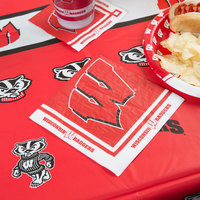 Creative Converting 664858 University of Wisconsin 2-Ply 1/4 Fold Luncheon Napkin - 240/Case