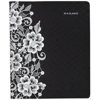At-A-Glance 541905 Lacey 9 1/4 inch x 11 3/8 inch Black/White January 2020 - January 2021 Professional Weekly / Monthly Appointment Book