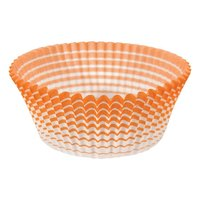 Ateco 6436 2 inch x 1 1/4 inch Orange Striped Baking Cups (August Thomsen) - 200/Box