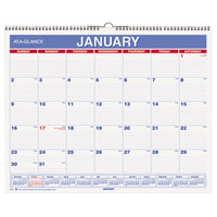 At-A-Glance PM828 12 inch x 15 inch Blue / Red Monthly January 2019 - December 2019 Wall Calendar