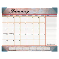 At-A-Glance 89702 22 inch x 17 inch Marble Burgundy Monthly January 2019 - December 2019 Desk Pad Calendar