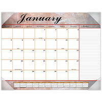 At-A-Glance 89702 22 inch x 17 inch Marble Burgundy Monthly January 2020 - December 2020 Desk Pad Calendar
