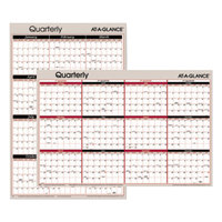 At-A-Glance A123 24 inch x 36 inch Black / Red Reversible Horizontal / Vertical Erasable January 2019 - December 2019 Quarterly Wall Planner