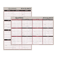 At-A-Glance A123 24 inch x 36 inch Black / Red Reversible Horizontal / Vertical Erasable January 2020 - December 2020 Quarterly Wall Planner