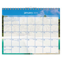 At-A-Glance DMWTE828 15 inch x 12 inch Tropical Escape Monthly January 2019 - December 2019 Wirebound Wall Calendar